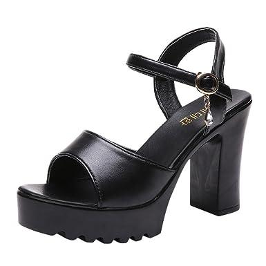 fbb700d130bde Nevera Women's Ankle Strap High Heel Open Toe Sandal Pump Chunky Platform  Shoe