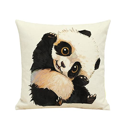 Westeng Funda de Cojín Almohada Caso Duradero Imagen de Panda Decoración para Home Coche Sofá(con exclusión de Almohada)