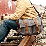 GEARONIC TM Men's Vintage Canvas Messenger Bag Shoulder and Leather Satchel School Military - Slate