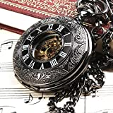 Classic Steampunk Roman Dial Mechanical Skeleton Steel Mens Black Windup Pocket Watch