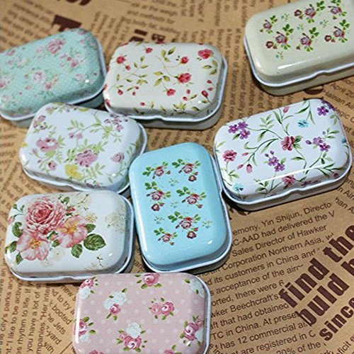Kinbelle Lovely Flower Iron Tin Storage Bag Gift Mini Jewelry Box Decor Card Pill Case
