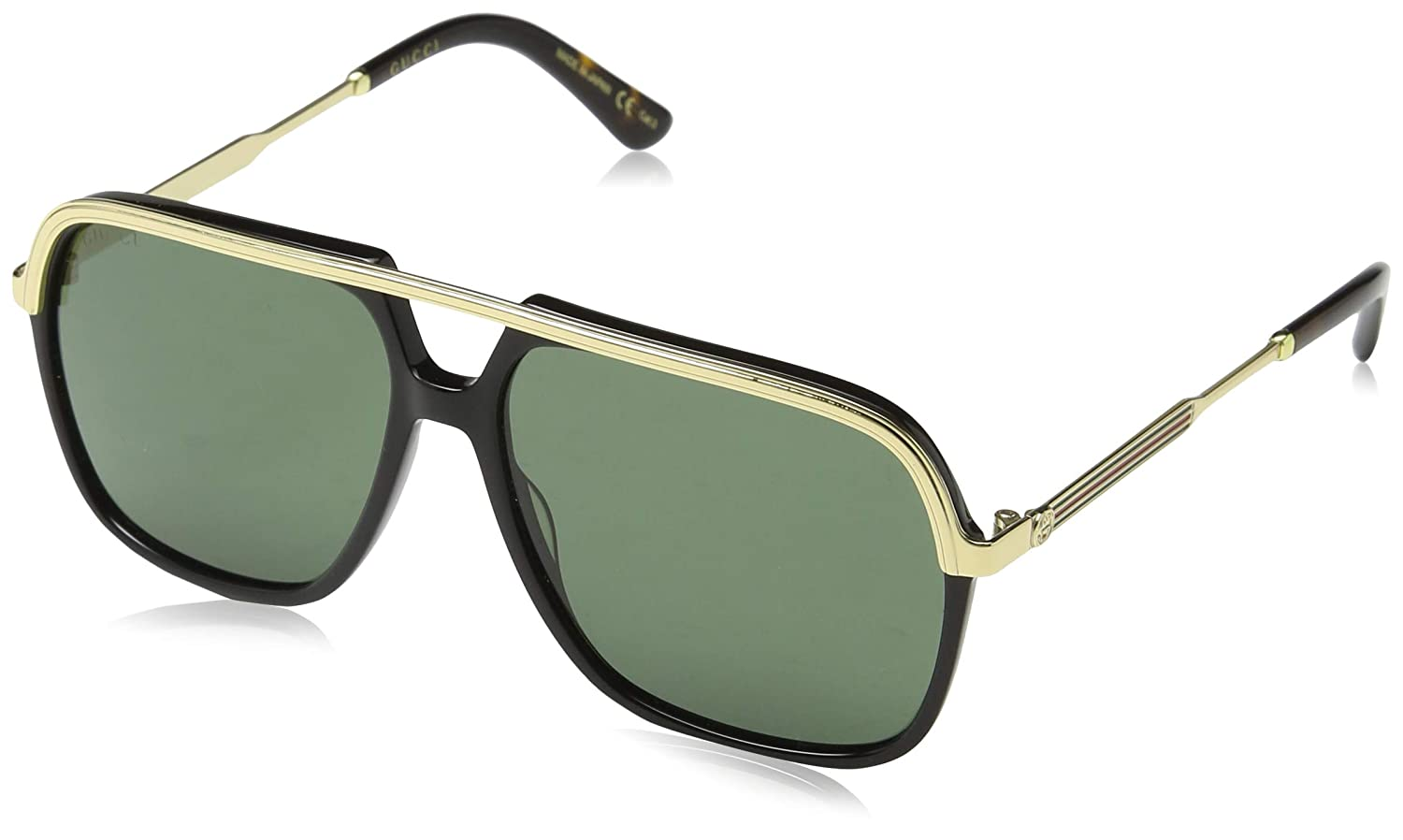 cc3f80ddfc1 Amazon.com  Gucci GG0200S 001 Black Gold GG0200S Square Pilot Sunglasses  Lens Category 3  Clothing