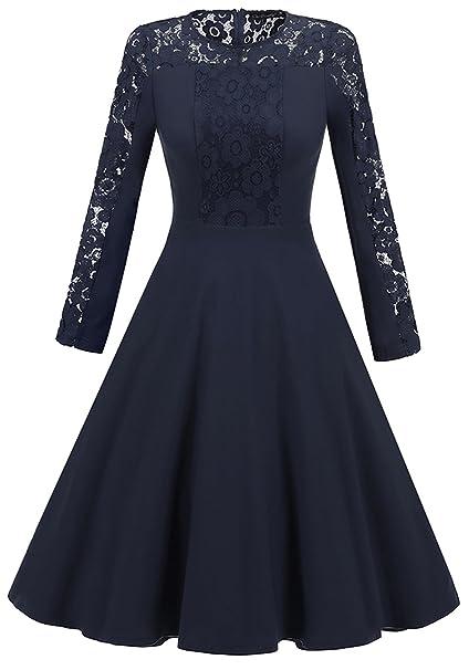 La Vogue Vestido Mujer Corto de Encaje Flor Hueco Vintage para Boda Fiesta Azul 2XL/