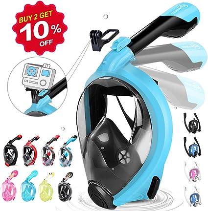 Snorkel Masque avec la Support pour Cam/éra de Sport 180/°View Masque Snorkeling Plein Visage Anti-Bu/ée et Anti-Fuite Adapt/é pour Adulte et Enfant Masque de Plong/ée