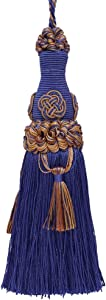 DÉCOPRO Decorative 6 inch Key Tassel/Ultramarine Blue, Tan/Baroque Collection Style# BKT Color: Navy Taupe - 5817