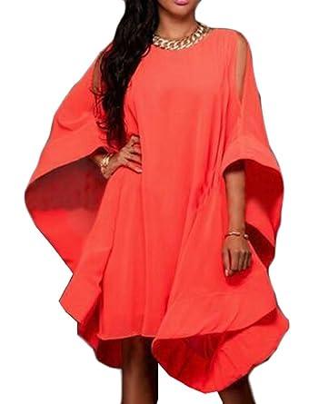 M&S&W Women\'s Dress, Plus Size Crew Neck Batwing Sleeve Party Midi ...