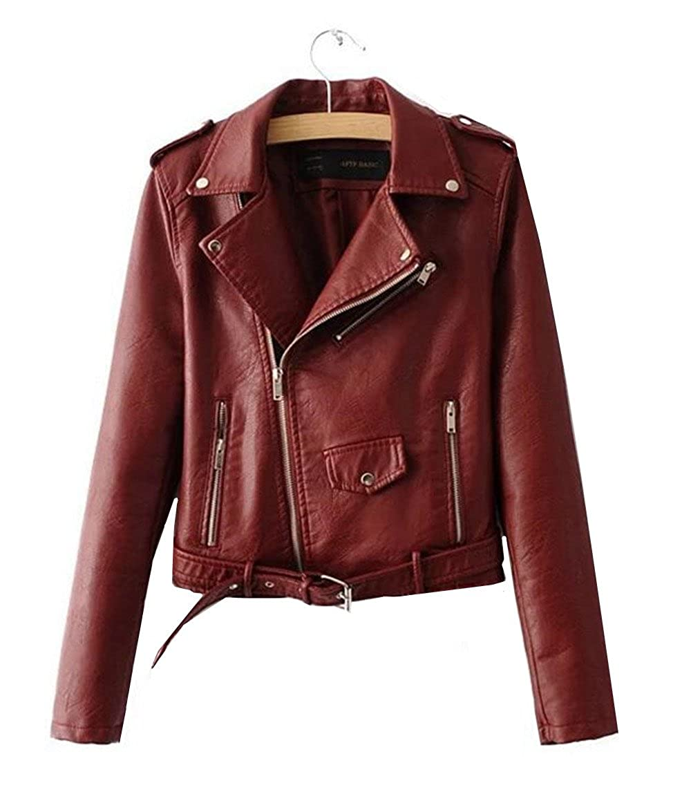 XIUWU Women Faux Leather Jackets PU Short Outwears