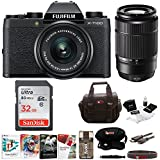 Fujifilm X-T100 Mirrorless Camera Body with XC15-45mm and XC50-230mm Lens Bundle (Black)