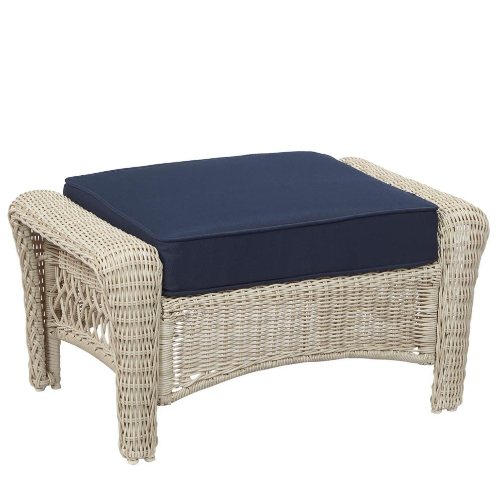 Hampton Bay Park Meadows White Wicker Outdoor Ottoman with Midnight Cushion