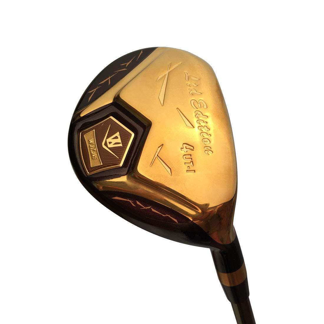 Japan WaZaki 14K Gold Finish Cyclone 4-SW Mx Steel Hybrid Irons Golf Club Set Headcover Regular Flex,Gold Graphite Shaft,Right Handed,Pack of 16