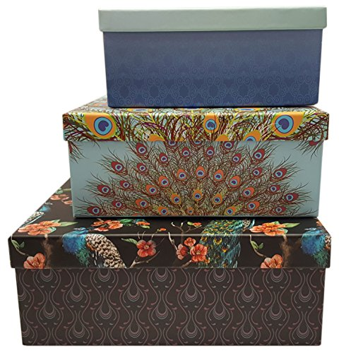 Alef Elegant Decorative Themed Nesting Gift Boxes -3 Boxes- Nesting Boxes Beautifully Themed and Decorated - Perfect for Gifts or Simple Decoration Around the House! (Peacock)