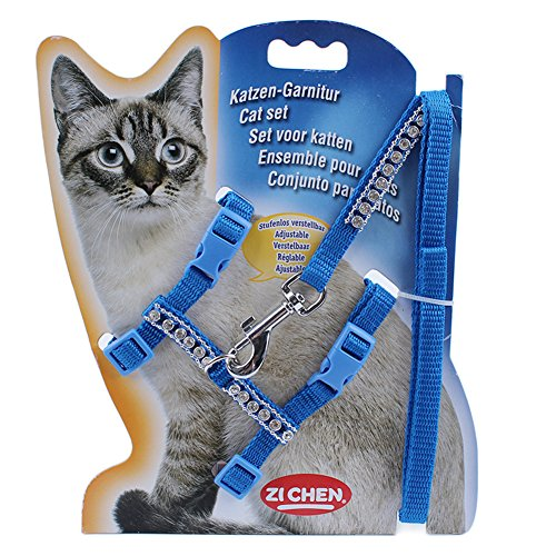 LANPA Pet Lead Leash Halter Harness Kitten Nylon Strap Belt Safety Rope Adjustable Cat Dog Collar/Soft and Easy To Walking - Cat Blue Nylon Harness