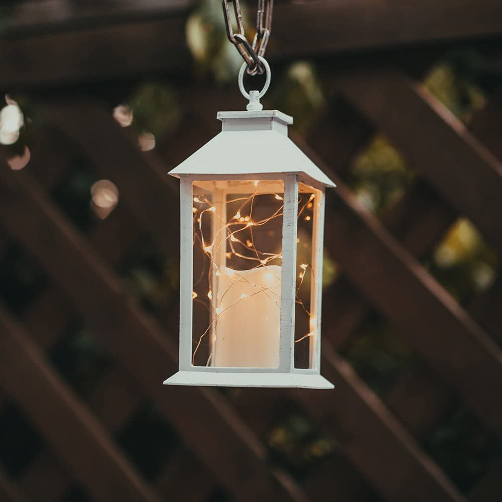 "14"" Gloden Brushed Vintage Candle Lantern with 30pcs Fairy Light (4 Hours Timer,3 AAA Batteries Included) Hanging LanternIndoor Outdoor Using Decorative Candle Lanterns Table lanterns"