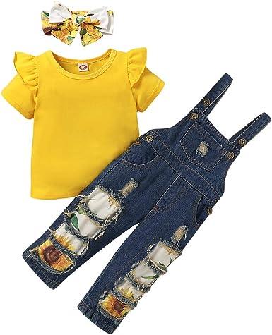 Camidy Disfraz de Girasol para Niña Camiseta con Volantes + ...
