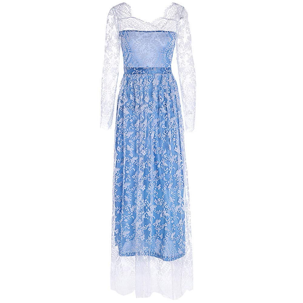 ffe18f71cf5 Amazon.com  Women s Retro Dress Floral Lace Splice Ruched Wedding Maxi  Dresses Party Evening Gown  Clothing