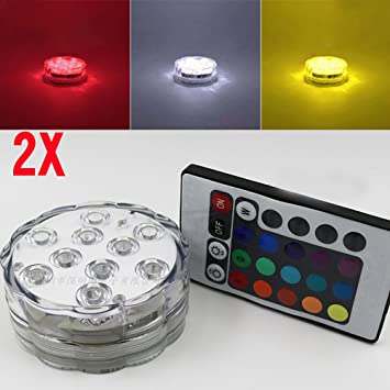 Sumergible luces LED funciona con pilas luces de foco con mando a distancia Lámparas decorativo pecera