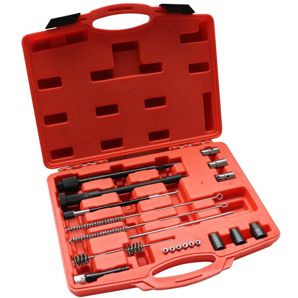 Prit2016 21PCS Kit de Nettoyage pour Siè ges d'injecteurs Nettoyeur pour Injecteurs Ponceuse Extracteur