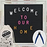 Letter Board - 10'' x 10'' Black Felt Letter Boards with 510 Letters, Changeable Letter Board, Rustic White Wood Vintage Frame with 3 Colours Alphabet Letters, Numbers, Emojis and Canvas Bag VAG052