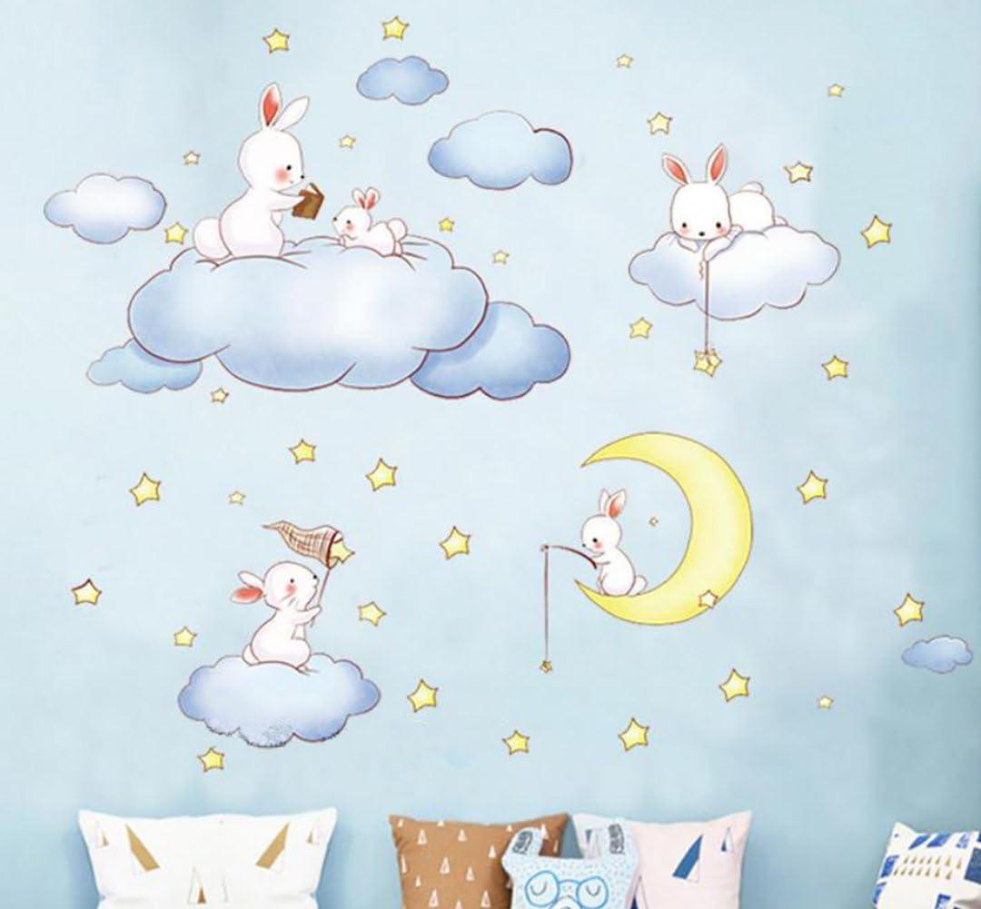 WandSticker4U– de pared adhesivo infantil sweet Dreams   200x52 cm   Conejo Liebre Wolke Luna Estrellas   Adhesivo decorativo para habitación de los Niños Baby