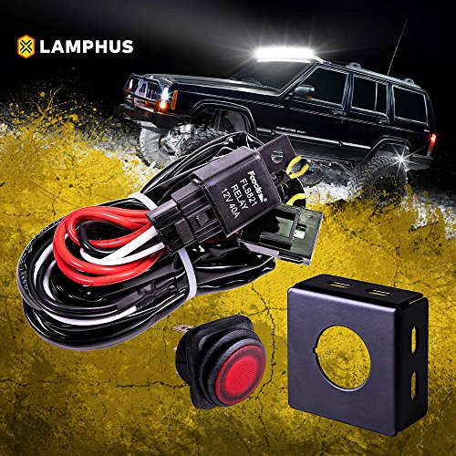 LAMPHUS 13′ Off Road ATV/Jeep LED Light Bar Wiring Harness Kit – Waterproof Switch & Mounting Bracket 30A Fuse 40A Relay (USA Warranty)