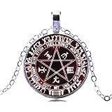 Gemingo Unique Satanic Pentagram Necklace Goat Skull Pendant Steel Pentagram Necklace Simple Silver Pendant