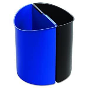 Safco Products Desk-Side Recycling Trash Can 9794BB, Black and Blue, Latching Receptacles, 3 Gallons Each, Value-Priced