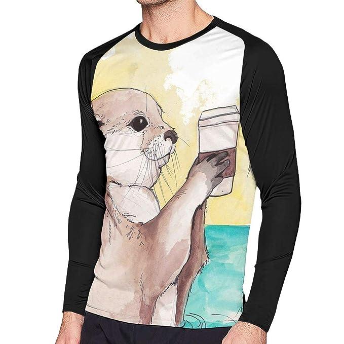 26bb334f7 Sea Lazy Hand Holding Coffee Men's Crew Neck Long Sleeve Shirt Baseball T- Shirt Raglan