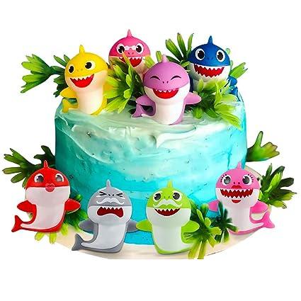Miraculous Sakolla 8 Pack Shark Birthday Cake Toppers Little Shark Cake Funny Birthday Cards Online Eattedamsfinfo