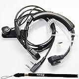 1 X Flexible Throat Mic Microphone Covert Acoustic Tube Earpiece Headset With Finger PTT for Kenwood Pro-Talk XLS TK Two Way Radio Walkie Talkie 2pin