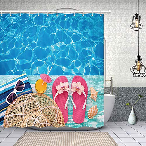 NYMB Summer Holidays in Beach Decor, Summer Flip Flops on Wooden, Polyester Fabric Shower Curtains for Bathroom, Shower Curtain Rings Included, 69X70 in, Turquoise Blue(Multi21) -