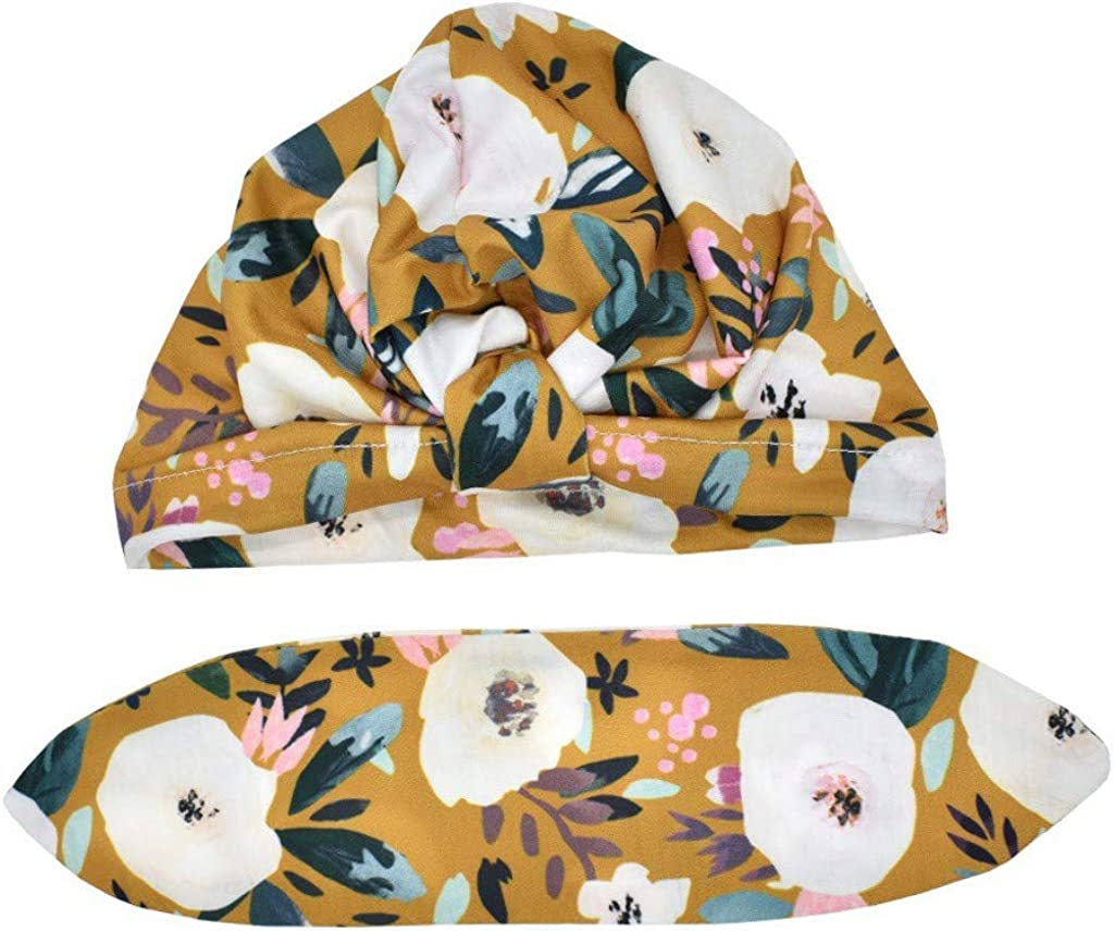 Girls Hats SHOBDW Newborn Baby Boy Girl Baby Sun Hat Floral Bowknot Cotton Cap Toddler Turban Photo Props