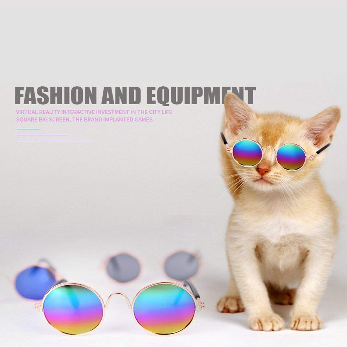 Colorful Reflective Fashionable Pets Cats Metal Frame Sunglasses Windproof Pets Eye Wear UV Protect Sun-Resistant Cats Sunglasses Accessories