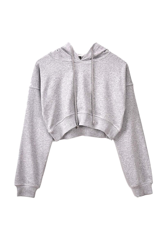 Women Hoodie Sweatshirts Crop Top Drawstring Sports Sweatshirts Pullover