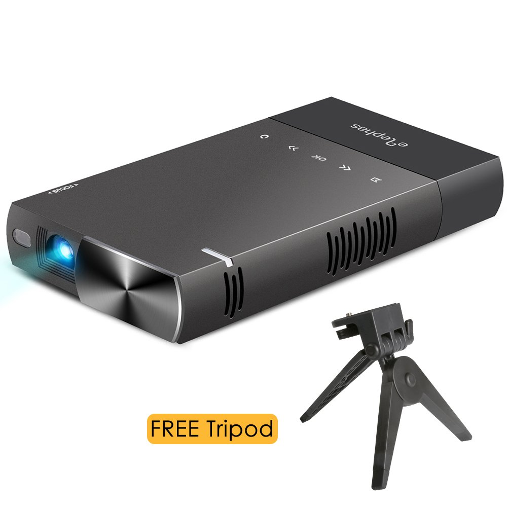 IPhone DLP Mini Projector, ELEPHAS High Brightness Pico Video Projector Support 1080P HDMI USB TF Card AV Ideal for Camp Backyard Outdoor Movie Night Home Cinema TV Laptop Game, Black-Silver.