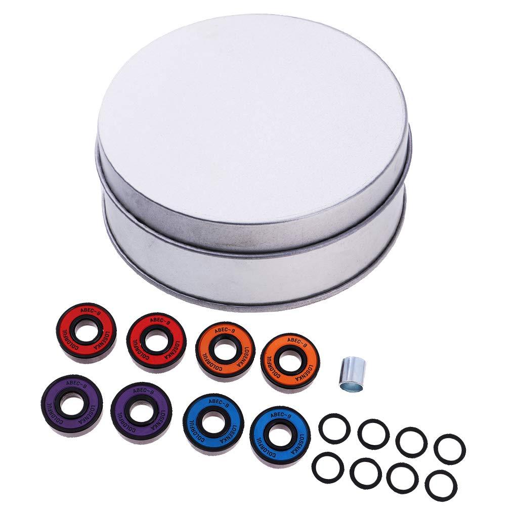 perfk 8Pcs Rodamientos De Titanio ABEC 11 Premium Para Patinetas Y Patines En L/ínea Multicolor