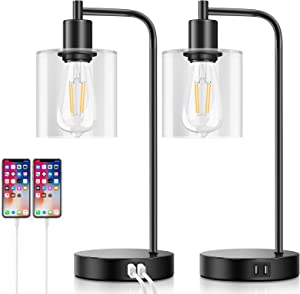Set of 2 Industrial Touch Control Table Lamps with 2 USB Ports and AC Power Outlet, 3-Way Dimmable Bedside Nightstand Reading Lamps with Glass Shade for Bedroom Living Room Office 2 LED Bulbs Included
