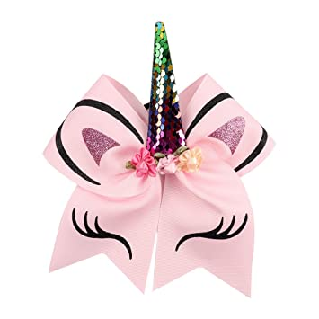 ef8dd3feaea Amazon.com   2pcs Rainbow Unicorn Cheer Bows With Rubber Band For Girls Kids  Reversible Sequin Ponytail Hair Bows Hair Accessories   Beauty