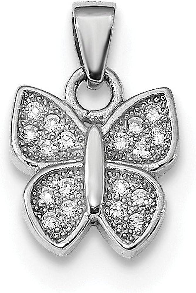DiamondJewelryNY Sterling Silver Rhodium-Plated Cz Butterfly Pendant