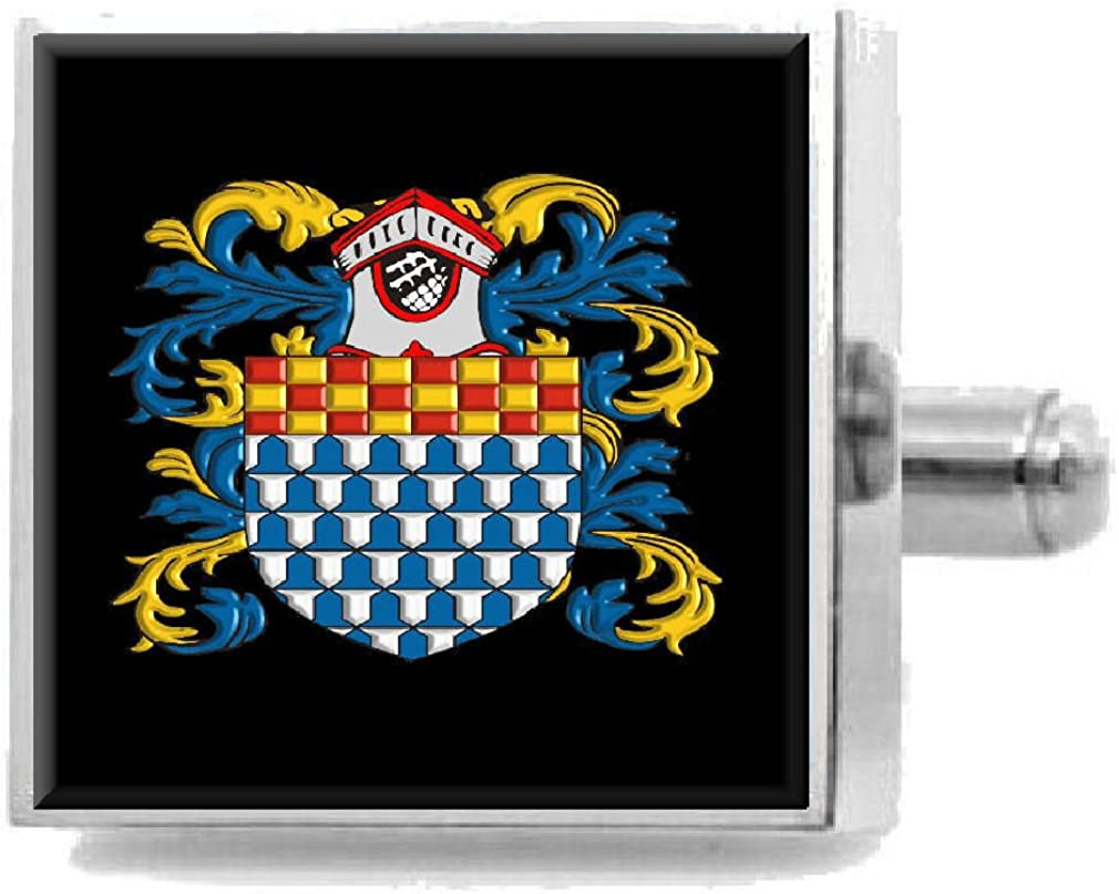 Select Gifts Fleming Ireland Heraldry Crest Sterling Silver Cufflinks Engraved Message Box