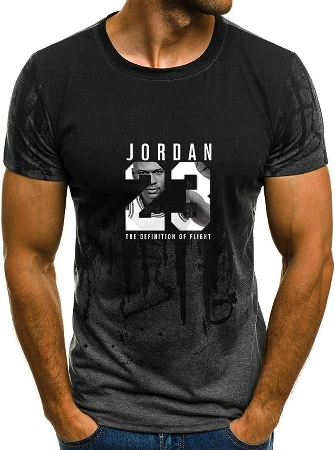 Chicago Bulls Michael Jordan Camiseta de Cuello Redondo para Hombre Baloncesto Deportivo Traje de Entrenamiento tee Tops: Amazon.es: Ropa y accesorios