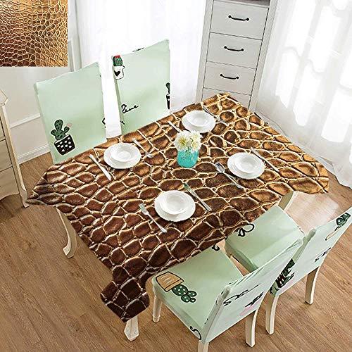 DILITECK Washable Table Cloth Animal Print Tint Golden