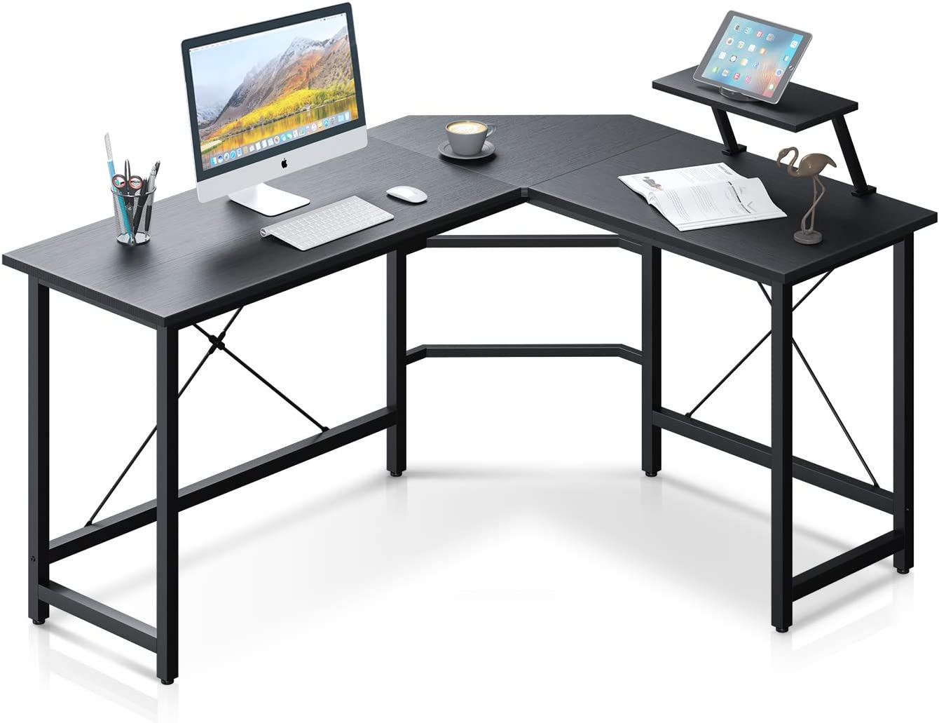 "Reversible L Shaped Computer Desk 58"" Home Office Desk with Removable Large Monitor Stand Sturdy Steel Frame Corner Desk Gaming Desk for Work Station, Black"