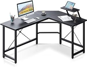 Reversible L Shaped Computer Desk, Home Office Desk, with Removable Large Shelf, Sturdy Steel Frame for Game Corner Work Station, Black