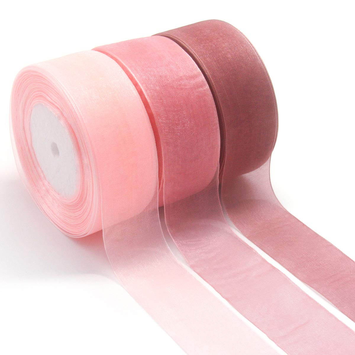 NICROLANDEE 3pcs Sheer Chiffon Ribbon 1.5Inch×49 Yards Dusty Rose Fading Ribbon Set for Wedding Gift Package Valentines Bouquets Wrapping Birthday Baby Shower Home Decor Wreath Decorations Fabric by NICROLANDEE (Image #1)