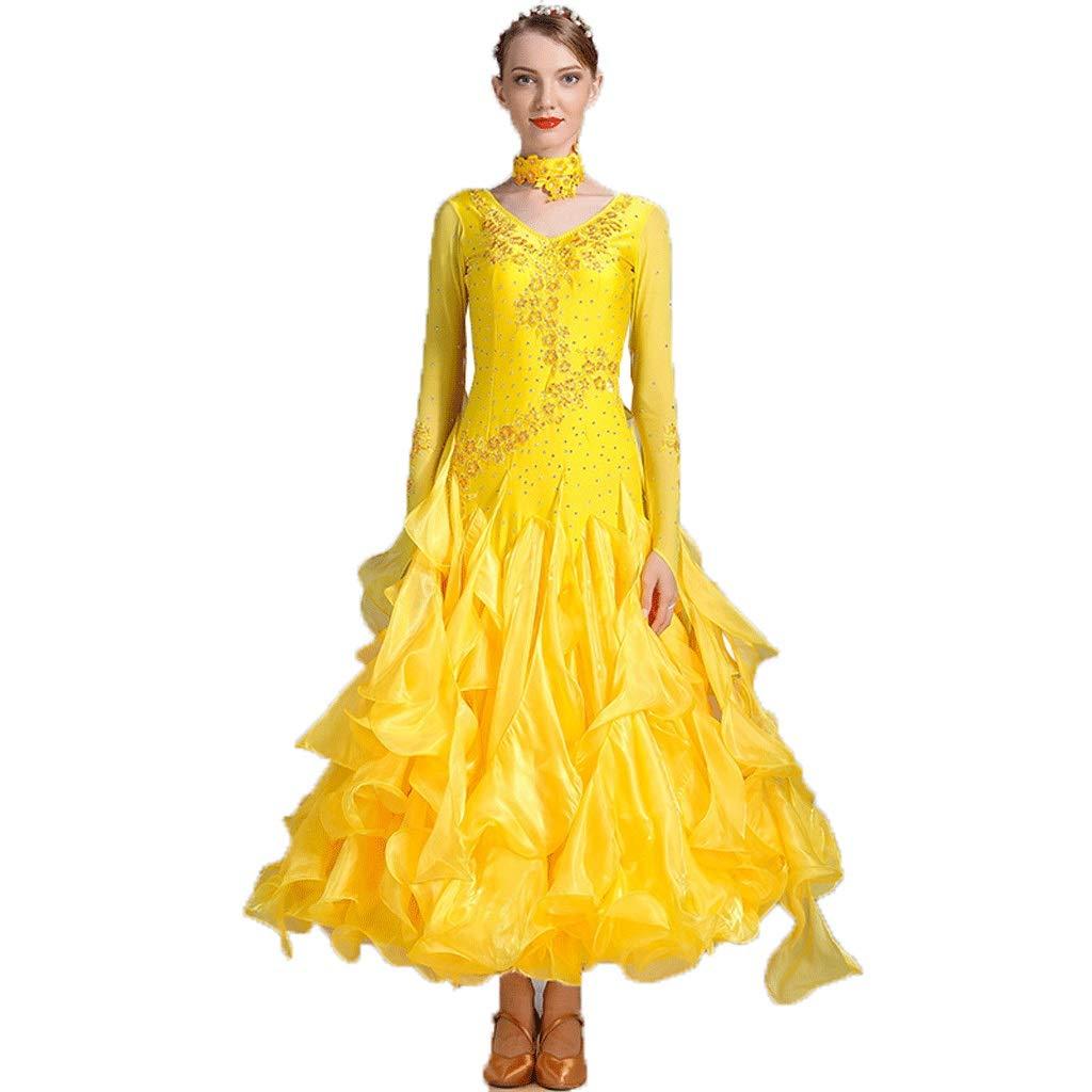 レディモダンダンススカートワンピース、全国標準のダンスドレス衣装 (Color : 黄, Size : XXL) 黄 XX-Large