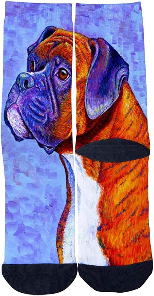 Mens Womens Casual Brindle Boxer Dog Socks Novelty Custom Socks Hip Hop Cartoon Socks Elite Crew Socks
