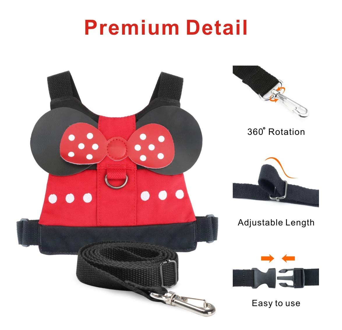 Elephant Blue Mall or Zoo Idefair Kids Harness Kid Leash Anti Lost Belt Harness Safety Walking Leash for Age 1-5 Years Old Boys /& Girls to Disneyland