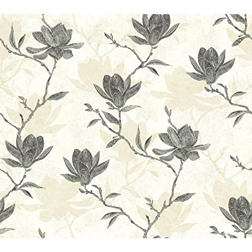 York Wallcoverings WB5454 Botanical Fantasy Magnolia Silhouette Wallpaper, Off White/Pale Grey/Black/Shining Silver - Magnolia Silhouette