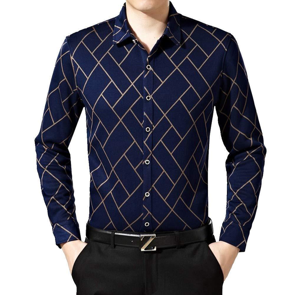 HNRYUDCF Das Starke Hemd-Muster-Geschäfts-thermische Unterwäsche-Winter-langärmeliges Hemd der Männer Größe groß