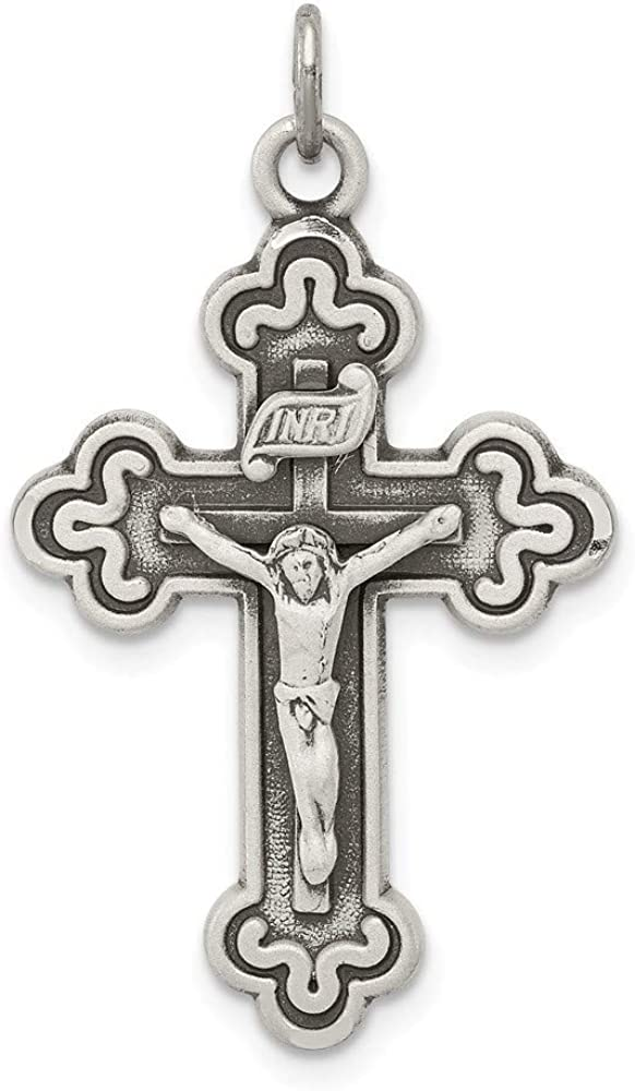 925 Sterling Silver Solid Satin Sparkle-Cut Antique finish Antiqued INRI Crucifix Pendant